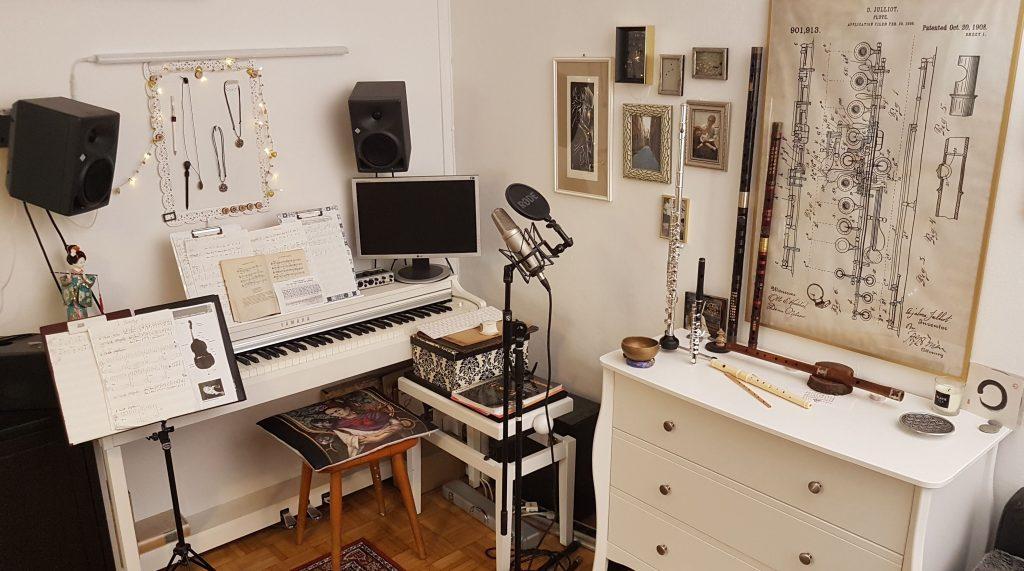 A photograph of Szintra's homestudio in Salzburg City